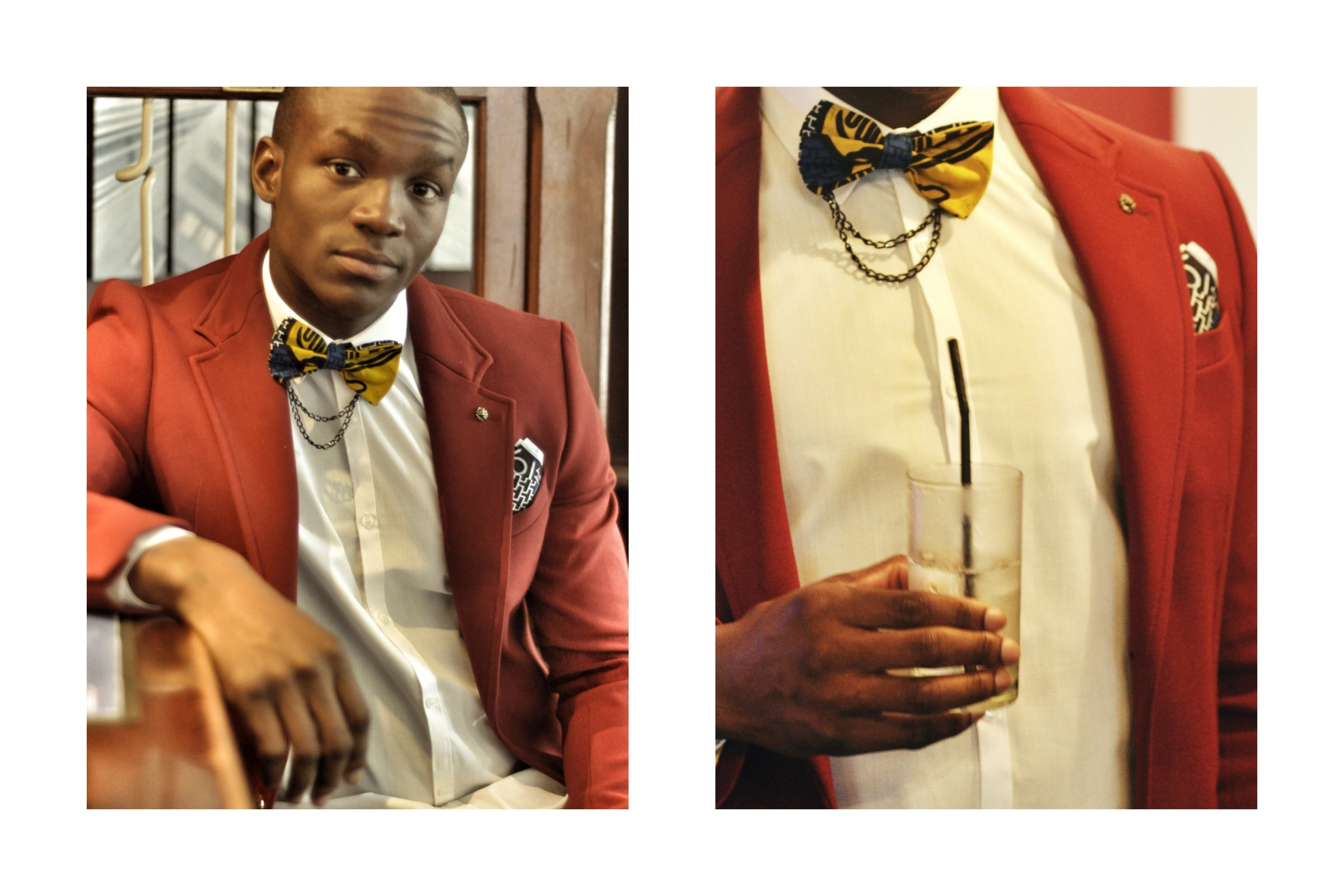 African Print Bow Tie with Chain and Pocket Square Set