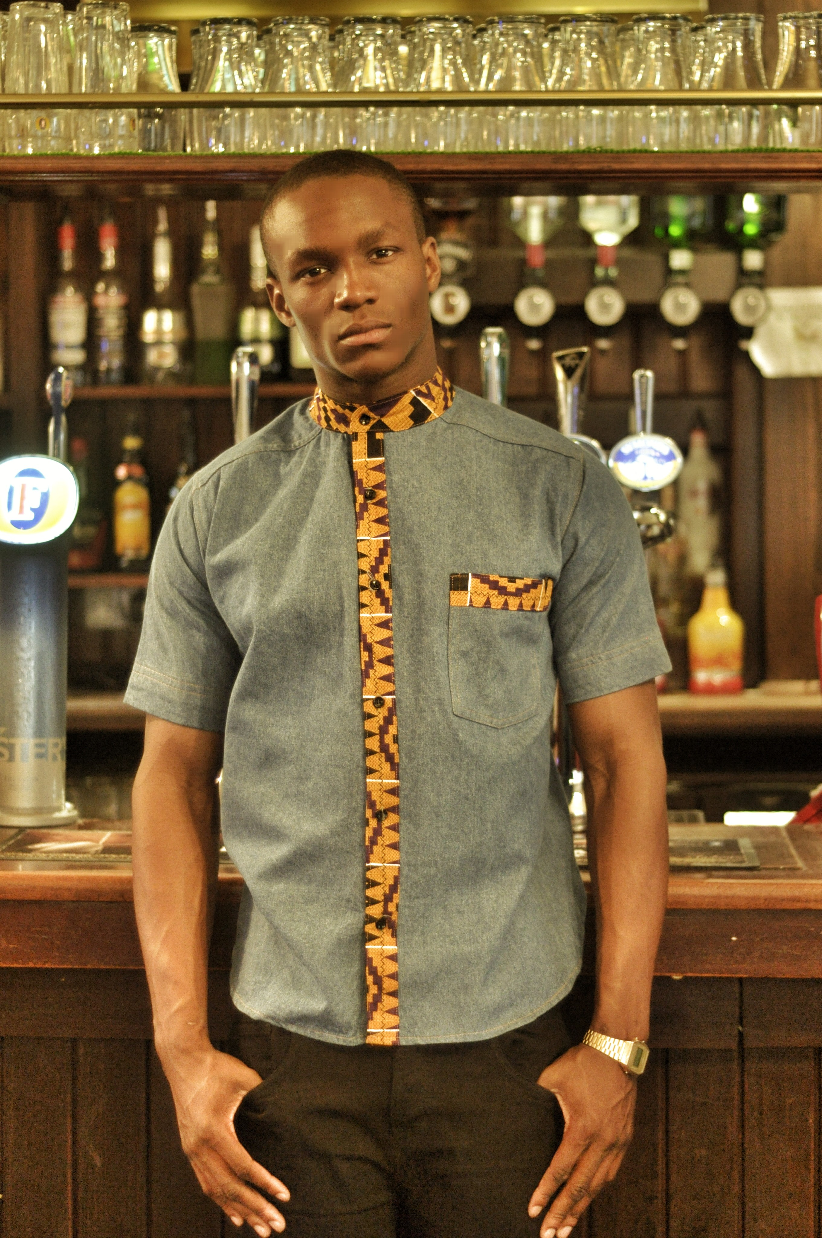 Denim Shirt with Kente Detail and Mandarin Collar